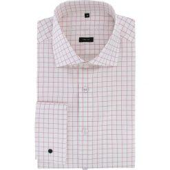 Koszula RICCARDO 15-09-17-K. Białe koszule męskie na spinki marki Giacomo Conti, m, w kratkę, z bawełny, z włoskim kołnierzykiem, z długim rękawem. Za 199,00 zł.