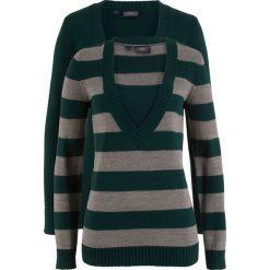 Swetry klasyczne damskie: Sweter (2 szt. w opak.) bonprix niebieskozielony w paski + niebieskozielony