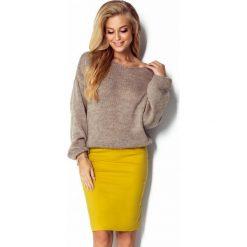 Wełniany sweter oversize i299. Brązowe swetry oversize damskie Fimfi, m, z wełny. Za 129,00 zł.