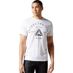 Reebok Koszulka męska Stamp Graphic Tee biały r. L (AY1050). Pomarańczowe koszulki sportowe męskie marki Reebok, z dzianiny, sportowe. Za 99,90 zł.