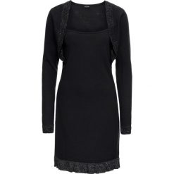 Sukienka dzianinowa z falbaną i połyskiem bonprix czarno-srebrny. Czarne sukienki balowe marki bonprix, z dzianiny. Za 79,99 zł.