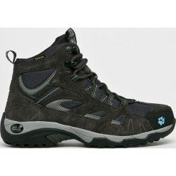 Jack Wolfskin - Buty Vojo Hike Mid. Czarne buty trekkingowe damskie marki Jack Wolfskin, w paski, z materiału. Za 469,90 zł.