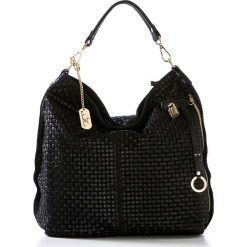 Torebki klasyczne damskie: Skórzana torebka w kolorze czarnym – 42 x 38 x 17 cm