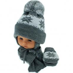 Czapka niemowlęca z szalikiem i rękawiczkami CZ+S+R 014B. Szare czapeczki niemowlęce Proman. Za 46,14 zł.