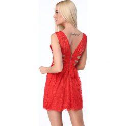 Sukienka z gumkami po bokach czerwona ZZ304. Białe sukienki marki Fasardi, l. Za 99,00 zł.