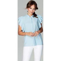 Błękitna Koszulowa Bluzka z Falbankowym Rękawem. Niebieskie bluzki koszulowe Molly.pl, l, eleganckie. Za 128,90 zł.
