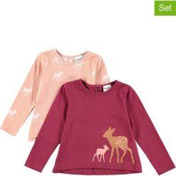 Koszulki (2 szt.) w kolorze bordowo-jasnoróżowym. Czerwone bluzki dziewczęce bawełniane Lamino Fashion, z dekoltem na plecach, z długim rękawem. W wyprzedaży za 45,95 zł.