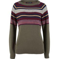Sweter bonprix ciemnooliwkowy wzorzysty. Zielone swetry klasyczne damskie marki bonprix. Za 49,99 zł.