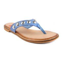 Klapki damskie: Skórzane klapki w kolorze niebieskim