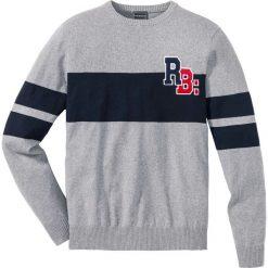 Swetry męskie: Sweter z bawełny z recyclingu Slim Fit bonprix szary melanż