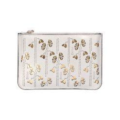 Kopertówki damskie: Skórzana kopertówka w kolorze perłowym – (S)25 x (W)16 x (G)2 cm