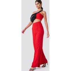 Spodnie z wysokim stanem: Trendyol Szerokie spodnie z wysoką talią – Red