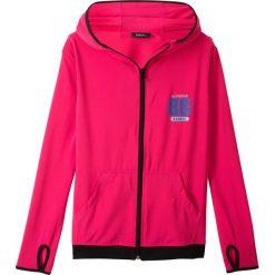 Kurtka sportowa z kapturem bonprix różowy hibiskus. Czerwone kurtki dziewczęce marki bonprix, z kapturem. Za 69,99 zł.