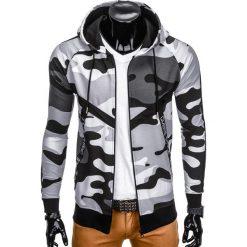 BLUZA MĘSKA ROZPINANA Z KAPTUREM B775 - CZARNA/MORO. Czarne bluzy męskie rozpinane marki Ombre Clothing, m, moro, z bawełny, z kapturem. Za 69,00 zł.