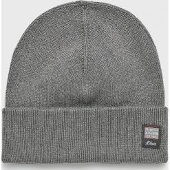 S. Oliver - Czapka. Szare czapki zimowe męskie S.Oliver, z bawełny. W wyprzedaży za 59,90 zł.