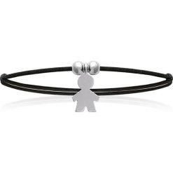 Bransoletki damskie na nogę: Bransoletka w kolorze czarnym ze srebrnym elementem ozdobnym