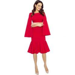 Sukienki: Czerwona Sukienka Wizytowa z Falbanką