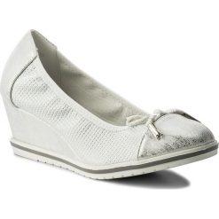 Półbuty CLARA BARSON - WS17135-A Biały Srebrny. Białe creepersy damskie Clara Barson, z materiału, na koturnie. Za 79,99 zł.