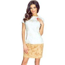 Sukienki hiszpanki: Achira – piękna dwukolorowa krótka sukienka beż-brąz