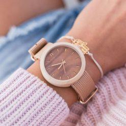 Zegarek Neat Zegarek damski New Hoop drewniany klon brązowo-złoty 38mm. Brązowe zegarki damskie Neat, złote. Za 355,69 zł.