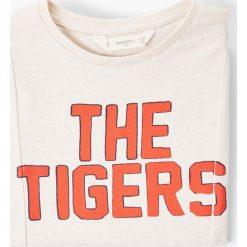 Mango Kids - T-shirt dziecięcy Tiger 110-164 cm. Szare t-shirty chłopięce z nadrukiem Mango Kids, l, z bawełny, z okrągłym kołnierzem. W wyprzedaży za 19,90 zł.