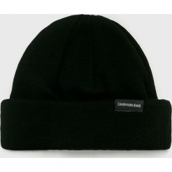 Calvin Klein Jeans - Czapka. Czarne czapki zimowe męskie marki Calvin Klein Jeans, na zimę, z bawełny. Za 159,90 zł.