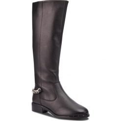 Oficerki STEVE MADDEN - Rain Boot SM11000180-03001-017 Black Leather. Czarne buty zimowe damskie marki Steve Madden, z materiału, na obcasie. W wyprzedaży za 549,00 zł.