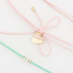 Naszyjniki damskie: Delikatny naszyjnik z zawieszką 2 pack – Różowy