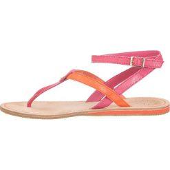 """Chodaki damskie: Skórzane japonki """"Lea"""" w kolorze różowo-pomarańczowym"""