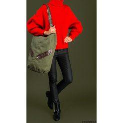 Torebki klasyczne damskie: KOFI – duża torba worek – ciemnozielona