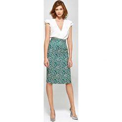 Spódnice wieczorowe: Elegancka Ołówkowa Spódnica do Kolan w Liście
