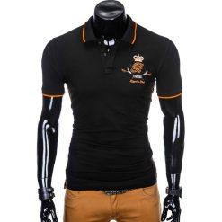KOSZULKA MĘSKA POLO Z NADRUKIEM S906 - CZARNA. Czarne koszulki polo marki Ombre Clothing, m, z bawełny, z kapturem. Za 59,00 zł.