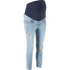 """Dżinsy ciążowe 7/8 SKINNY z haftem bonprix jasnoniebieski """"bleached"""". Niebieskie jeansy damskie bonprix, na lato, z haftami, z dżerseju. Za 149,99 zł."""