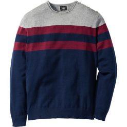 Sweter Regular Fit bonprix szary melanż - jeżynowy w paski. Szare swetry klasyczne męskie marki bonprix, m, melanż, z dzianiny. Za 59,99 zł.