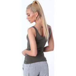 Koszulka na ramiączka khaki MP14881. Brązowe bluzki damskie marki Fasardi, l. Za 29,00 zł.