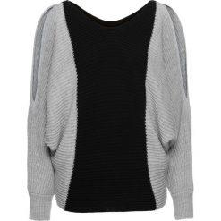 """Swetry oversize damskie: Sweter """"oversize"""" w kontrastowych kolorach bonprix jasnoszaro-czarny"""