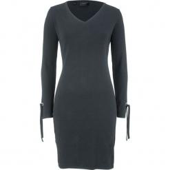 Sukienka dzianinowa ze sznurowaniem na rękawie bonprix czarny. Czarne sukienki dzianinowe bonprix, ze sznurowanym dekoltem. Za 49,99 zł.