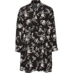 Bluzki asymetryczne: Długa bluzka poszerzana dołem bonprix czarno-biel wełny w kwiaty
