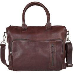"""Skórzana torba biznesowa """"Medford"""" w kolorze ciemnobrązowym - 40 x 33 x 10 cm. Brązowe torby na ramię męskie marki Cowboys Bags & Belts, w paski, ze skóry, na ramię. W wyprzedaży za 513,95 zł."""