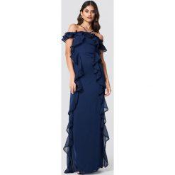 Trendyol Sukienka maxi z falbankami - Navy. Szare długie sukienki marki Trendyol, na co dzień, z elastanu, casualowe, dopasowane. Za 283,95 zł.