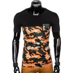 T-SHIRT MĘSKI Z NADRUKIEM S1007 - POMARAŃCZOWY/MORO. Czarne t-shirty męskie z nadrukiem marki Ombre Clothing, m, z bawełny, z kapturem. Za 35,00 zł.