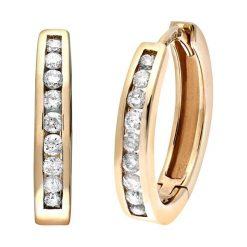Kolczyki damskie: Złote kolczyki-kreole z diamentami