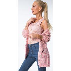Sweterek niezapinany kolorowy melanż / róż MISC5540. Białe kardigany damskie marki Fasardi, l. Za 109,00 zł.
