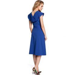 RENEE Sukienka rozkloszowana z falbankami przy rękawach - chabrowa. Niebieskie sukienki balowe marki numoco, na imprezę, s, w kwiaty, z jeansu, sportowe. Za 136,99 zł.