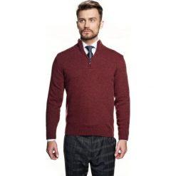 Sweter nagore troyer czerwony. Szare swetry klasyczne męskie marki Recman, m, z kołnierzem typu troyer. Za 249,00 zł.