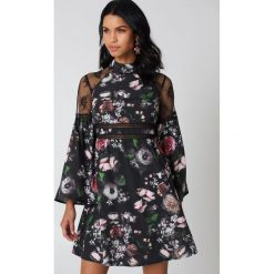 Sukienki hiszpanki: Neon Rose Koronkowa sukienka – Black,Multicolor