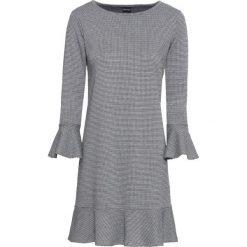 Elastyczna sukienka żakardowa bonprix czarno-biel wełny w kratę. Czarne sukienki rozkloszowane marki bonprix, z żakardem. Za 79,99 zł.