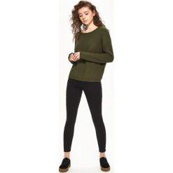 Swetry damskie: Sweter z wiązaniem na plecach - Khaki