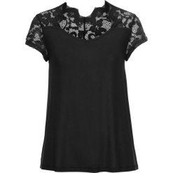T-shirt bonprix czarny. Czarne t-shirty damskie bonprix, z koronki. Za 69,99 zł.