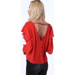 Bluzka z ozdobnymi mankietami czerwona MP28460. Czerwone bluzki z odkrytymi ramionami Fasardi, l. Za 55,20 zł.